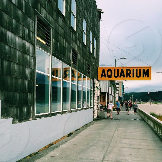 people walking on pathway beside white and black building with aquarium signage photo