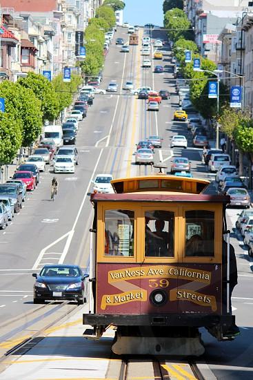 San Francisco. Cable Car. Steep Street. photo