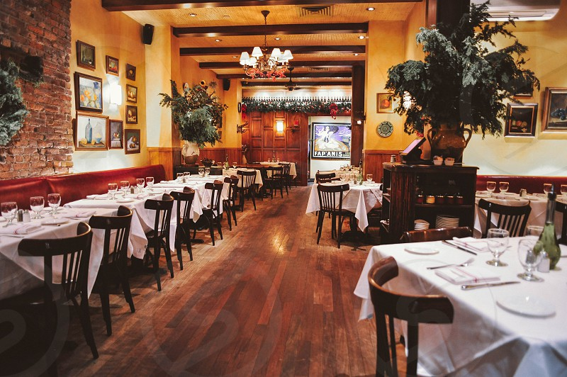 interior restaurant view with white table linens and wood chairs and indoor plants photo