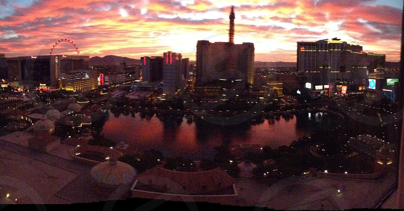 Vegas strip from the Bellagio at sunrise photo