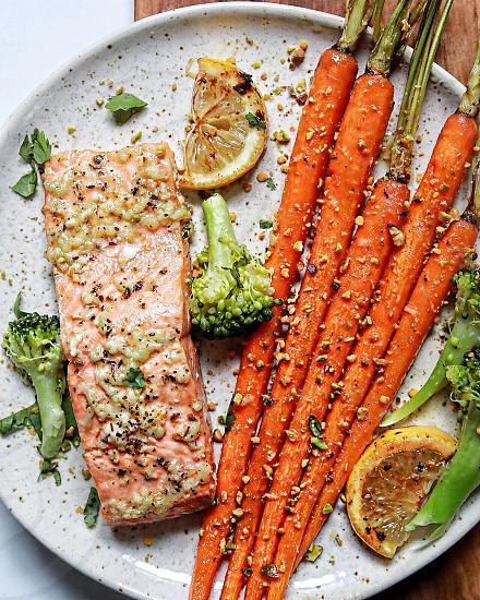 Garlic lemon butter coho salmon with honey glazed carrots & broccoli photo