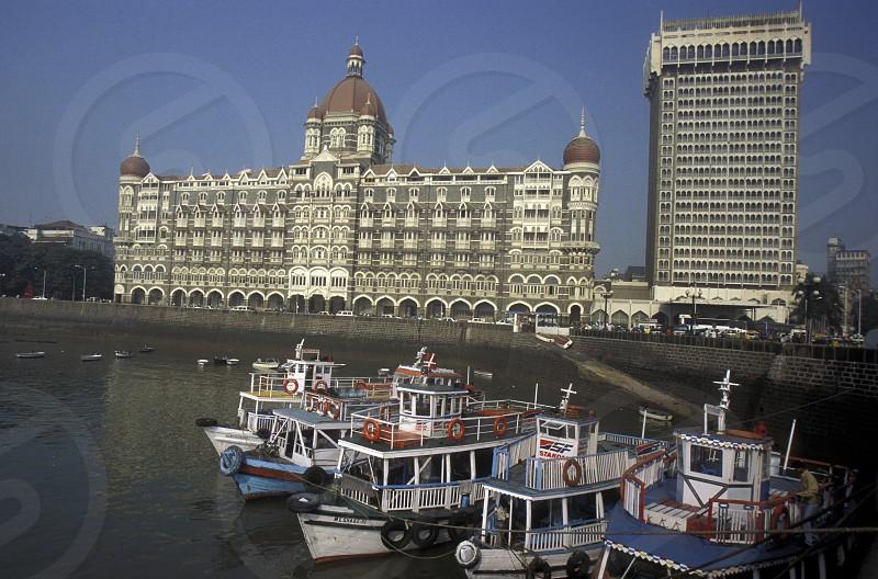 the Hotel Taj Mahal at the Gateway of India in the city of Bombay or Mumbai in India. photo