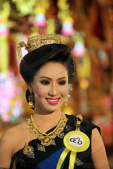 women on a Beauty Miss competition at the Bun Bang Fai Festival or Rocket Festival in the City of Yasothon in the Region of Isan in Northeast Thailand in Thailand. photo