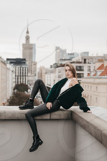 Model looking girl pose on the city street photo