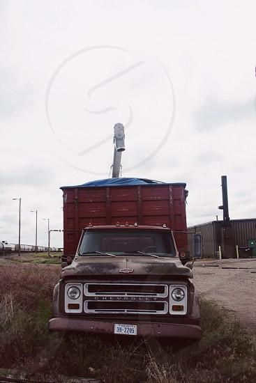 brown 1970's chevy cargo truck photo