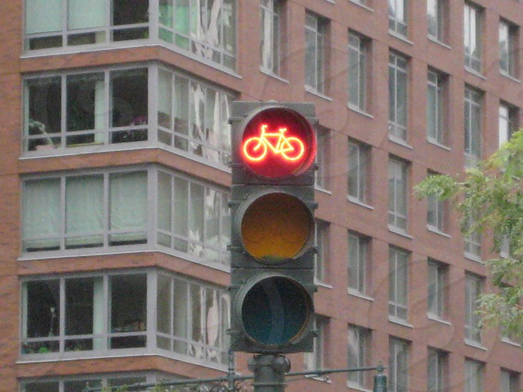 bicycle traffic light stop sign photo