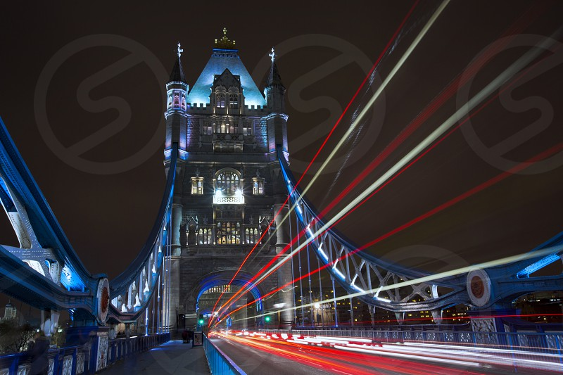 Tower bridge night UK Light trail motion blur drawbridge landmark London city architecture photo