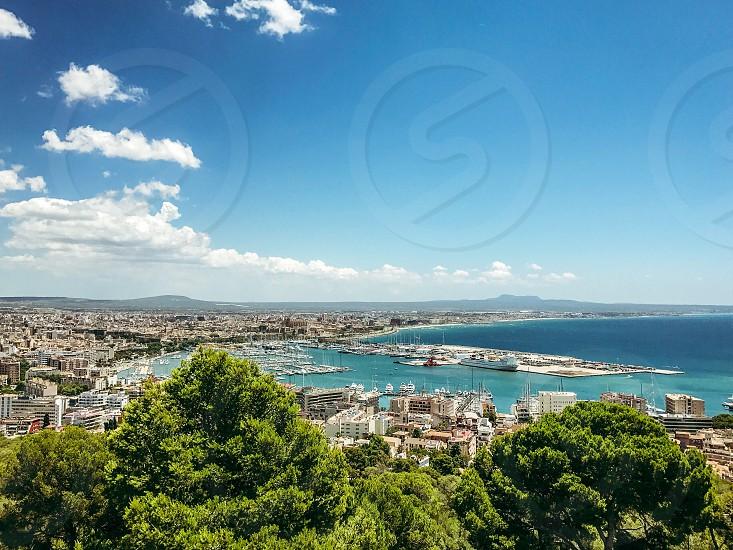 Cityscape  city from above Palma  Mallorca Spain  harbor Europe  island Mediterranean  photo