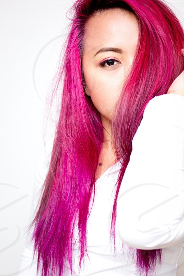 Girl with pink hair photo