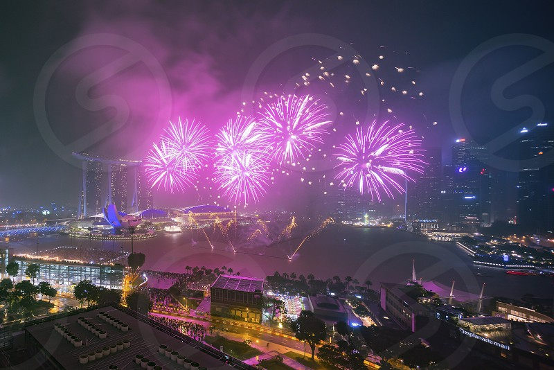 Singapore Marina Bay during new year eve fireworks show photo