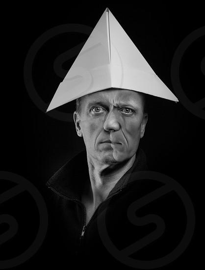 Le Chapeau  Cubism portraiture in monochrome portrait on black background photo