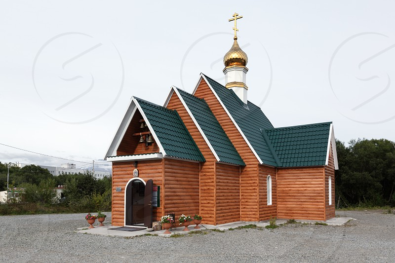 PETROPAVLOVSK-KAMCHATSKY CITY KAMCHATKA PENINSULA RUSSIAN FAR EAST - SEP 3 2017: Building of Temple in Honor of Saint Sergius of Radonezh of Kamchatka Peninsula Diocese of Russian Orthodox Church. photo