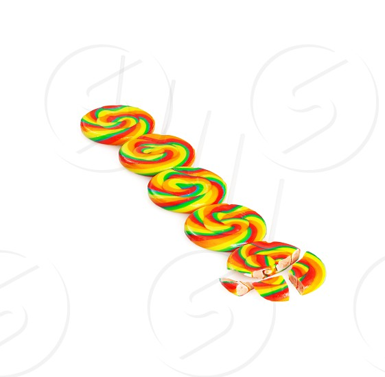 colorfull sugar lollipops isolated on white background photo