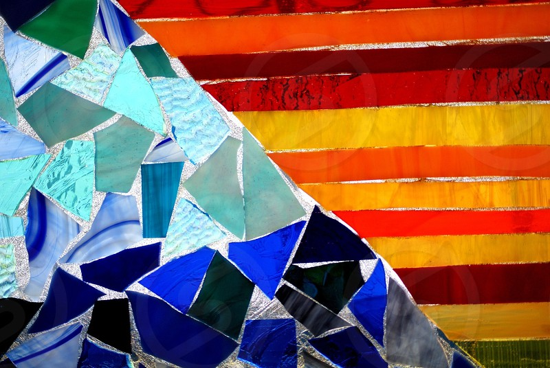 Colored glass in triangular shapes  photo