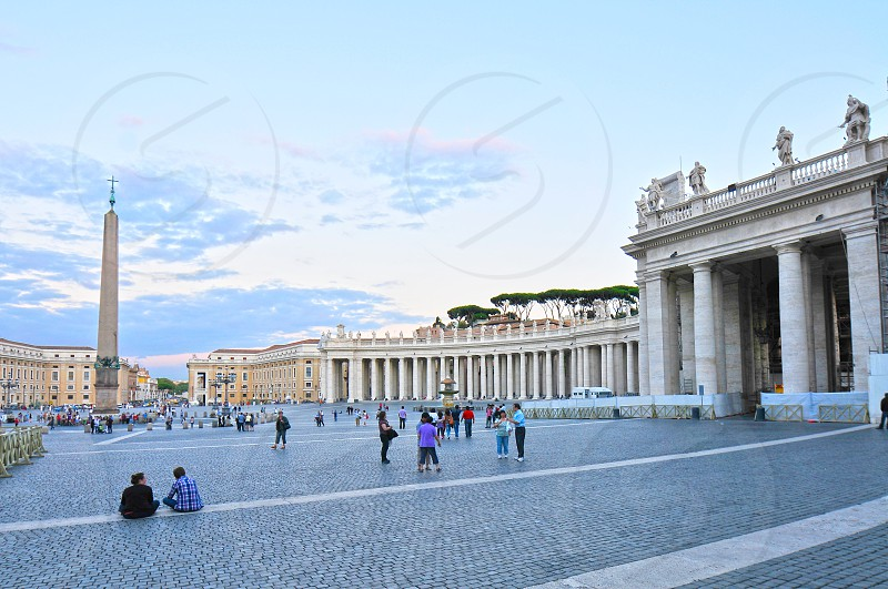St. Peter's Square summer sunset. Vatican City. photo