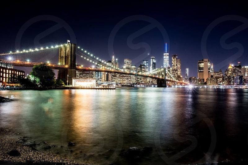 Manhattan view at night  from Dumbo Brooklyn. photo