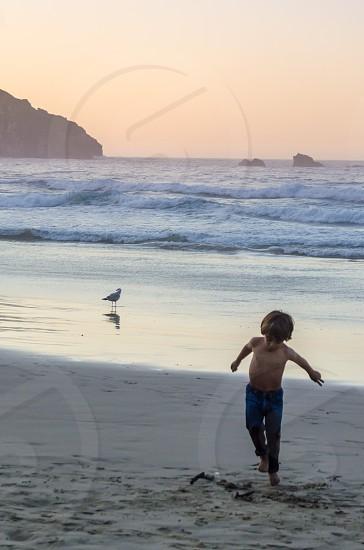 boy on beach photo