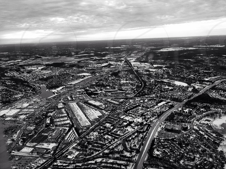 metropolis aerial gray scale photography  photo