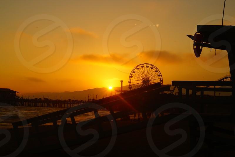 Santa Monica Pier LA   Beach Sunset Sun Lifeguard Usa LA photo