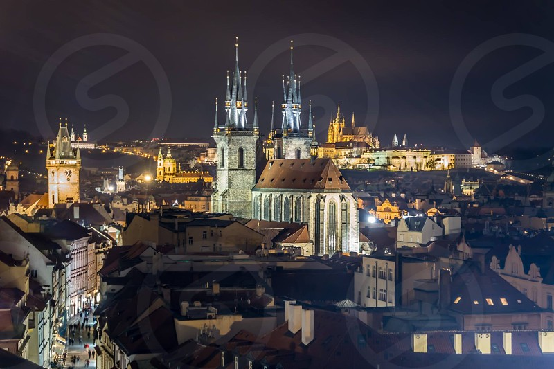 Prague night cityscape cathedral castle street lights  photo