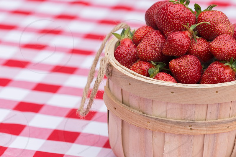 Strawberries on a picnic blanket photo