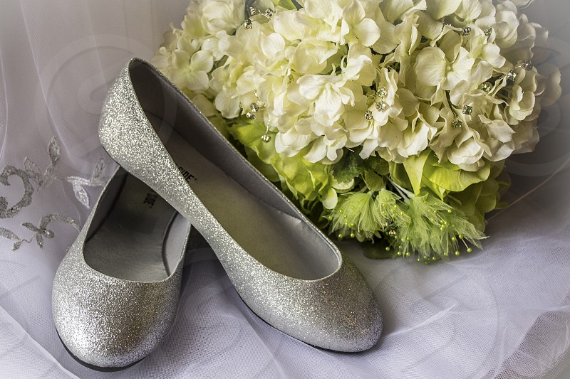 girls silver sparkle flats photo