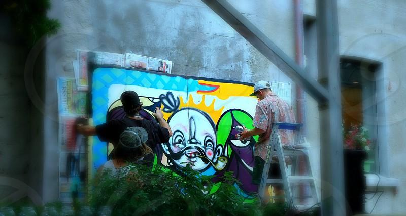 graffiti art public street wall team fun friends create  photo