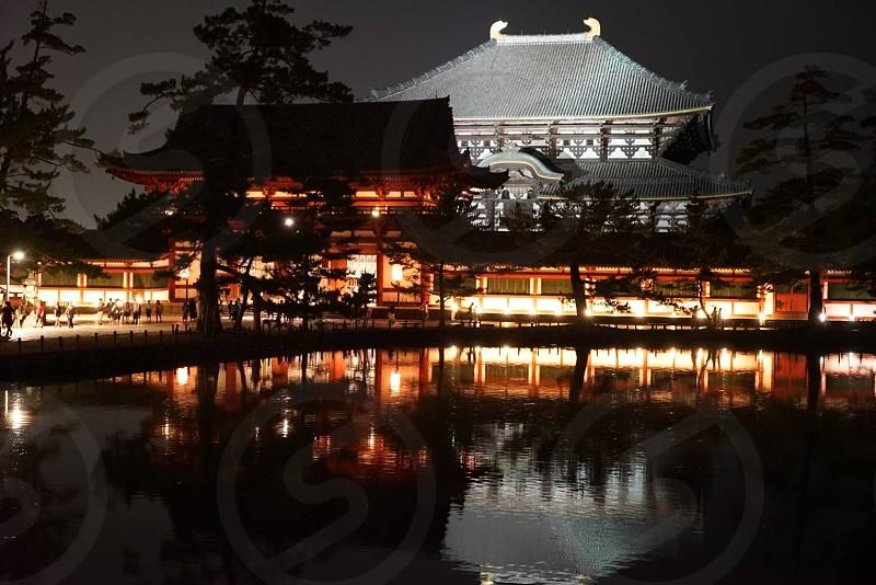 天平文化の象徴といってもよい寺、世界最大の木造建築である大仏殿東大寺、彫像群が並ぶ法華堂や二月堂などの東大寺(とうだいじ)。 奈良の象徴である東大寺の夜景を撮ってみた日本人として心に残る情景であった。 photo