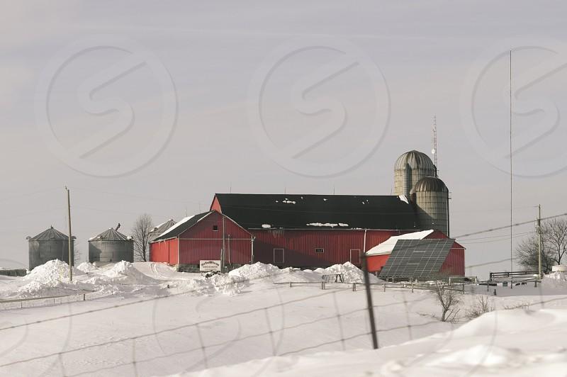 Winter Barn Scene photo