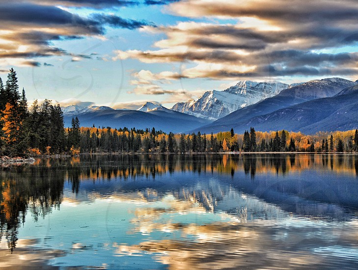 Rockies Jasper Canada Canadian Rockies National Park Mt Edith Cavell Pyramid Lake outdoor adventures mountains mountaineering mountain photography sky water lake reflection reflections  photo