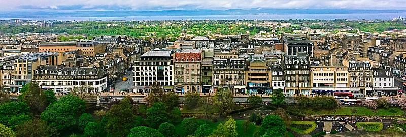Edinburgh landscape skyline Scotland ocean Europe Britain  photo