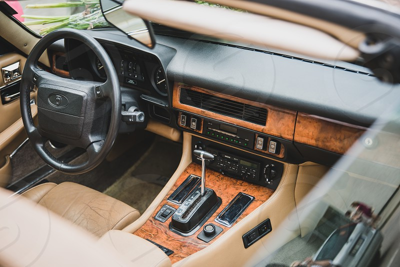 Interior of an old cabriolet photo