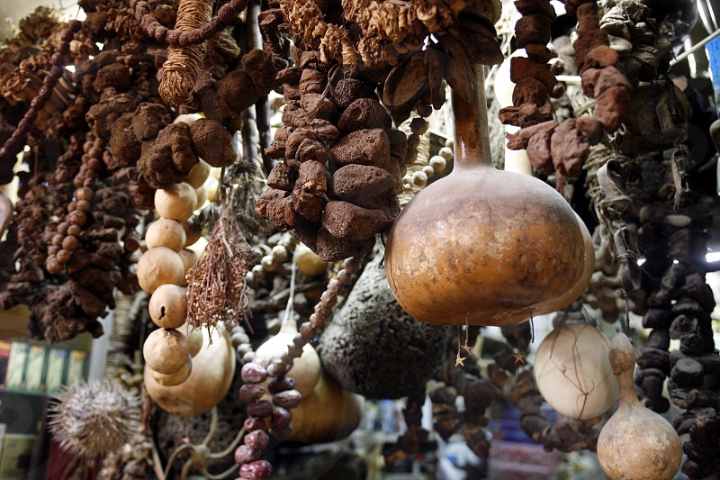 a shop in the market or souq in the old town in the city of Damaskus in Syria in the middle east photo