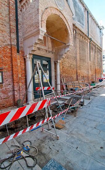 Venice italy unusual road work in progress photo