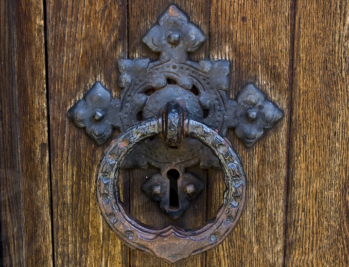 Deep Grained Wood and Door Knocker photo