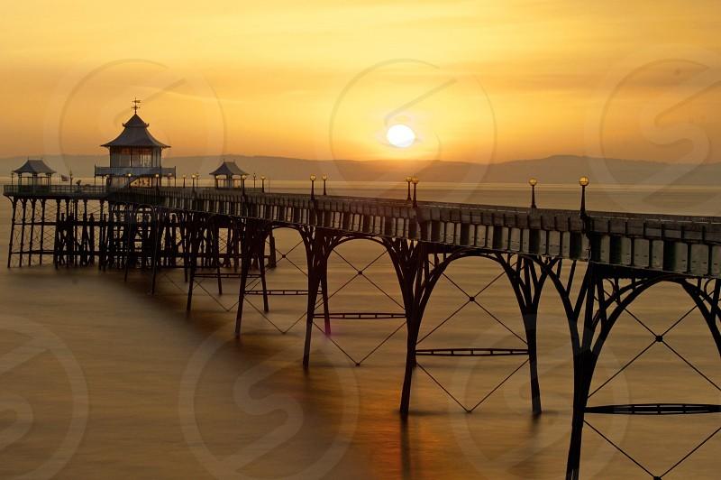 Clevedon Victorian Pier Sunset photo