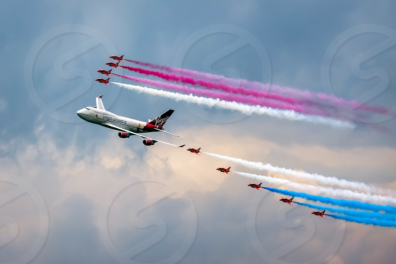Virgin Atlantic - Boeing 747-400 and Red Arrows Aerial Display at Biggin Hill Airshow photo
