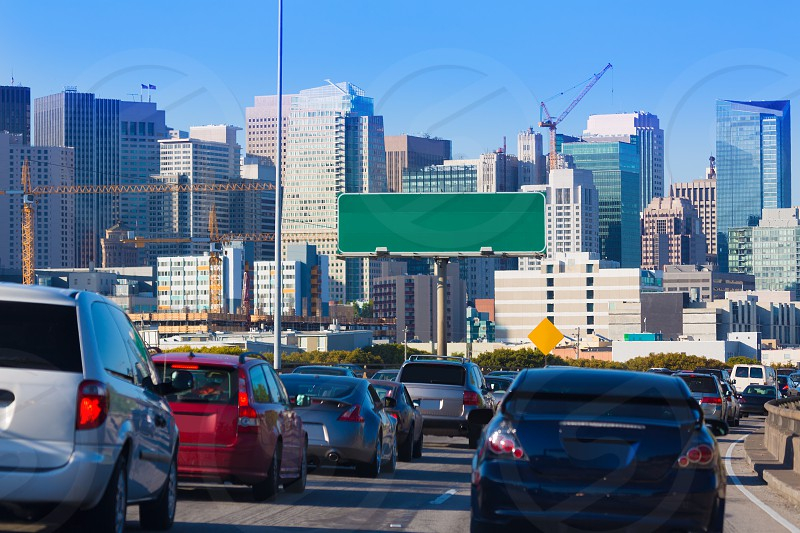 San Francisco city traffic in rush hour with downtown skyline California USA photo