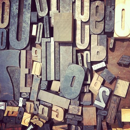 Typography letters alphabet printer's rack photo