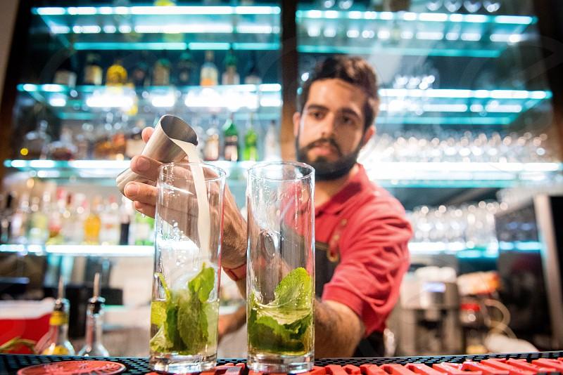 Barman at his workstation  photo