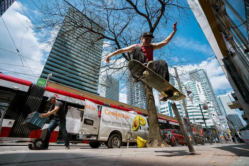 Skate extreme urban streets sports Toronto fun skateboarding vans moment  photo