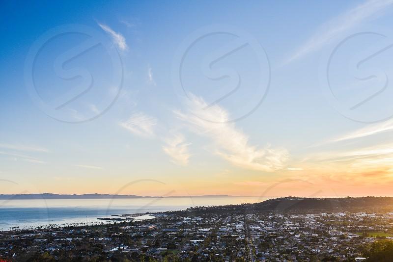 santa barbara sunset view city town harbor ocean california photo