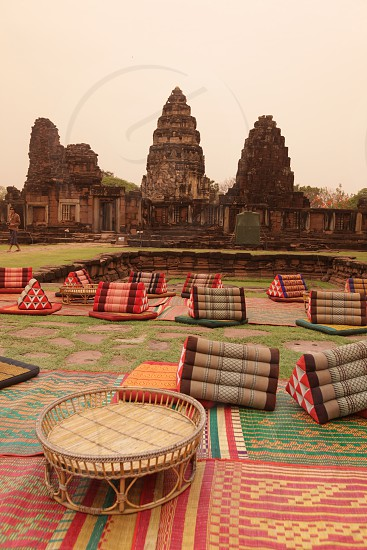 the phimai khmer Temple in the town of Phimai near the city of Khorat or Nakhon Ratchasima in the Region of Isan in Northeast Thailand in Thailand. photo