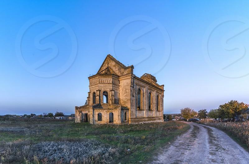 Abandoned Catholic Church of St. George in the village of Krasnopole Mykolaiv region Ukraine photo