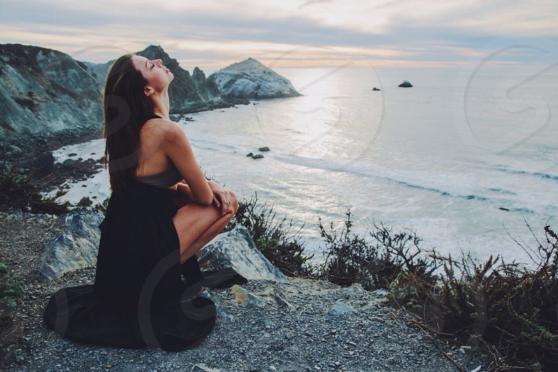 women's black halter maxi dress photo