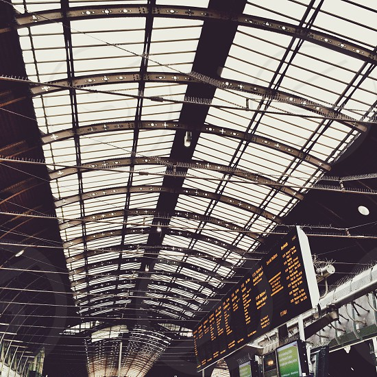 Paddington railway station in London. Roof ironwork victorian photo