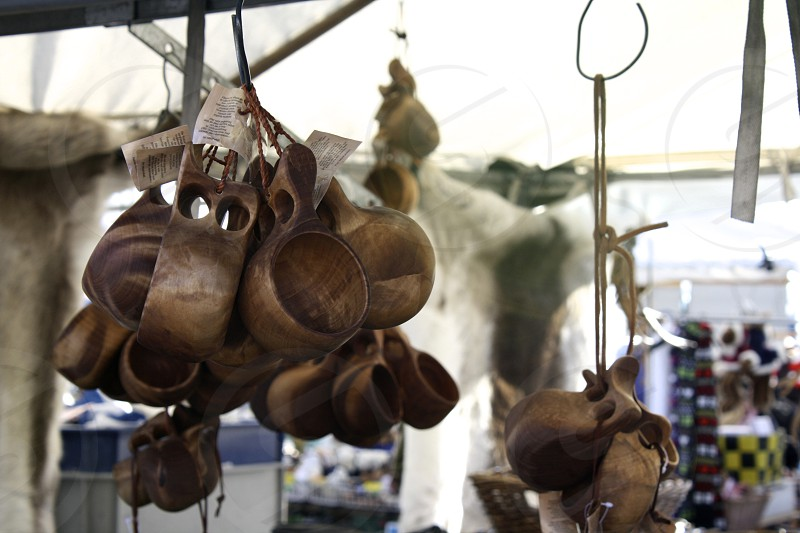 brown wooden cups hanged photo