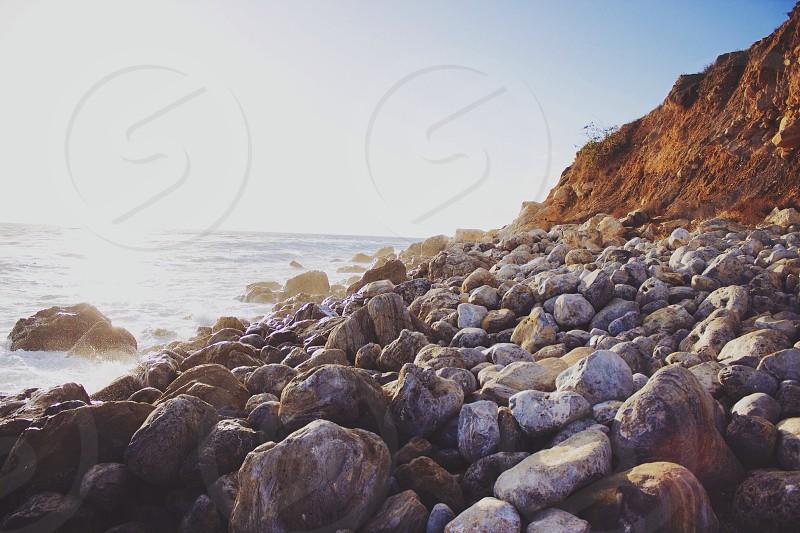rock formation along seashore  photo