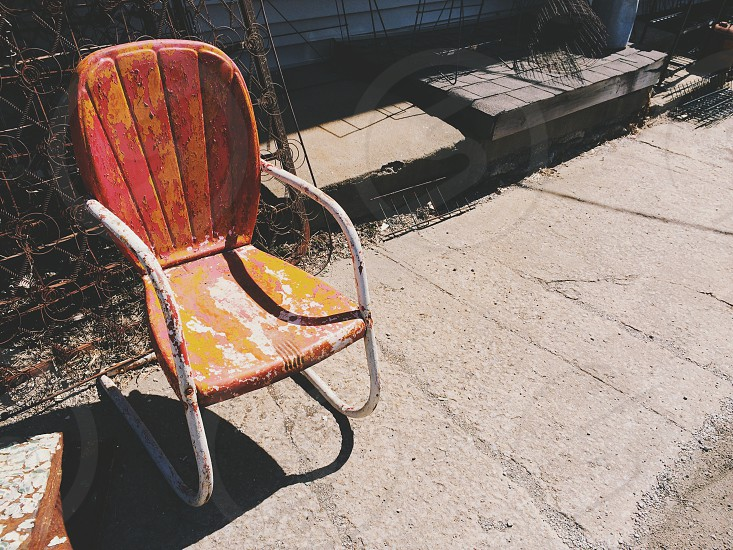 Vintage Chair Vintage Lawn Chair Orange Chair Empty Chair Vintage Outdoor Chair Vintage Metal Chair By Leslie Adams Photo Stock Snapwire
