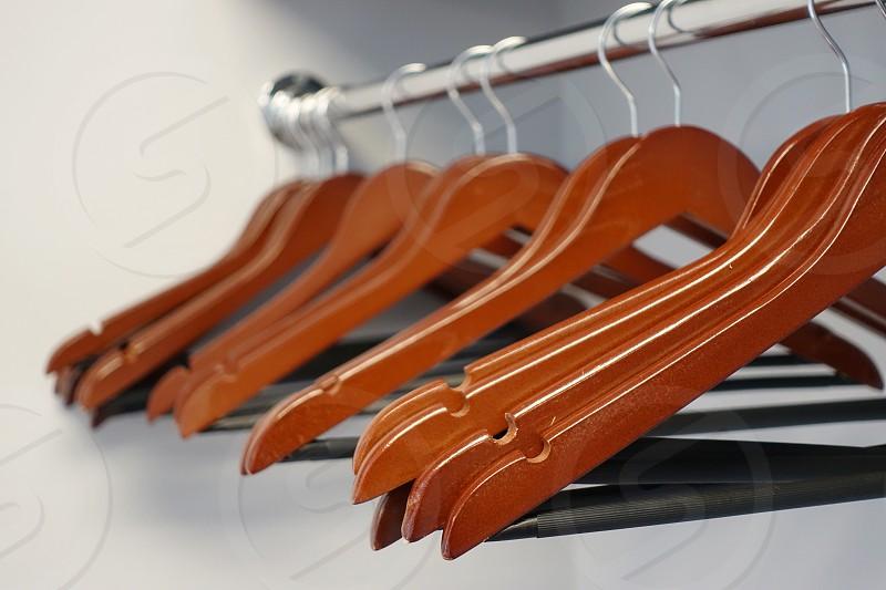 Hangers in the closet photo